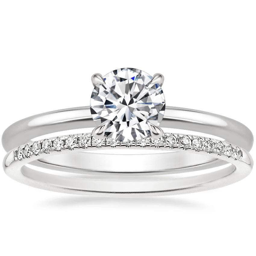 18K White Gold Secret Halo Diamond Ring with Whisper Diamond Ring (1/10 ct. tw.)
