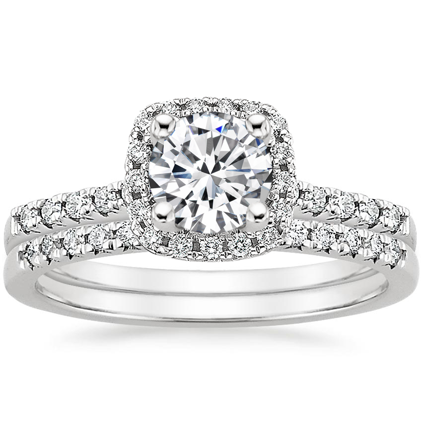 18K White Gold Odessa Diamond Ring (1/5 ct. tw.) with Sonora Diamond Ring (1/8 ct. tw.)