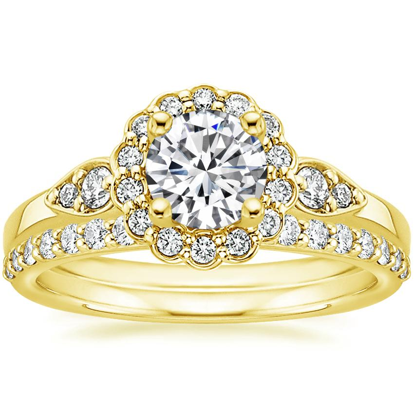 18K Yellow Gold Camillia Diamond Ring with Petite Shared Prong Diamond Ring (1/4 ct. tw.)