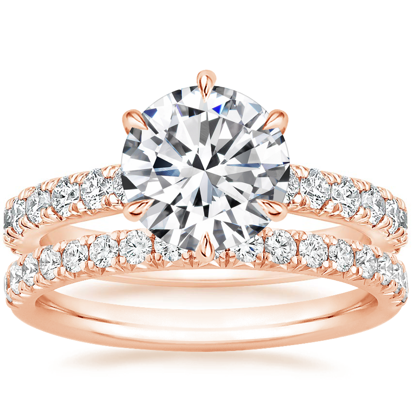 14K Rose Gold Luxe Sienna Diamond Ring (1/2 ct. tw.) with Amelie Diamond Ring (1/3 ct. tw.)