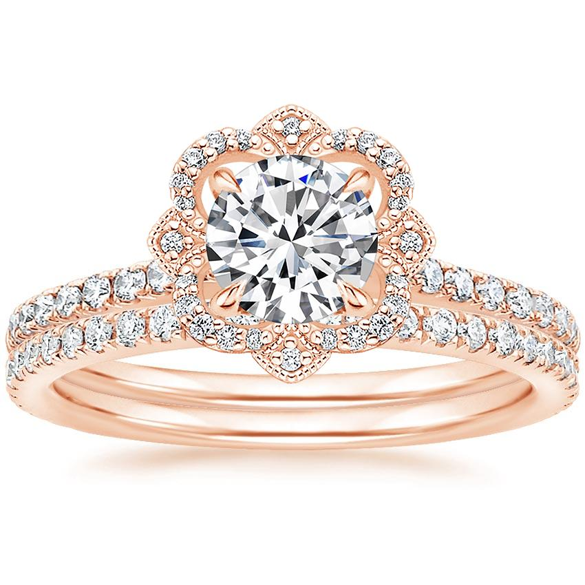 14K Rose Gold Reina Diamond Ring (1/6 ct. tw.) with Luxe Ballad Diamond Ring (1/4 ct. tw.)