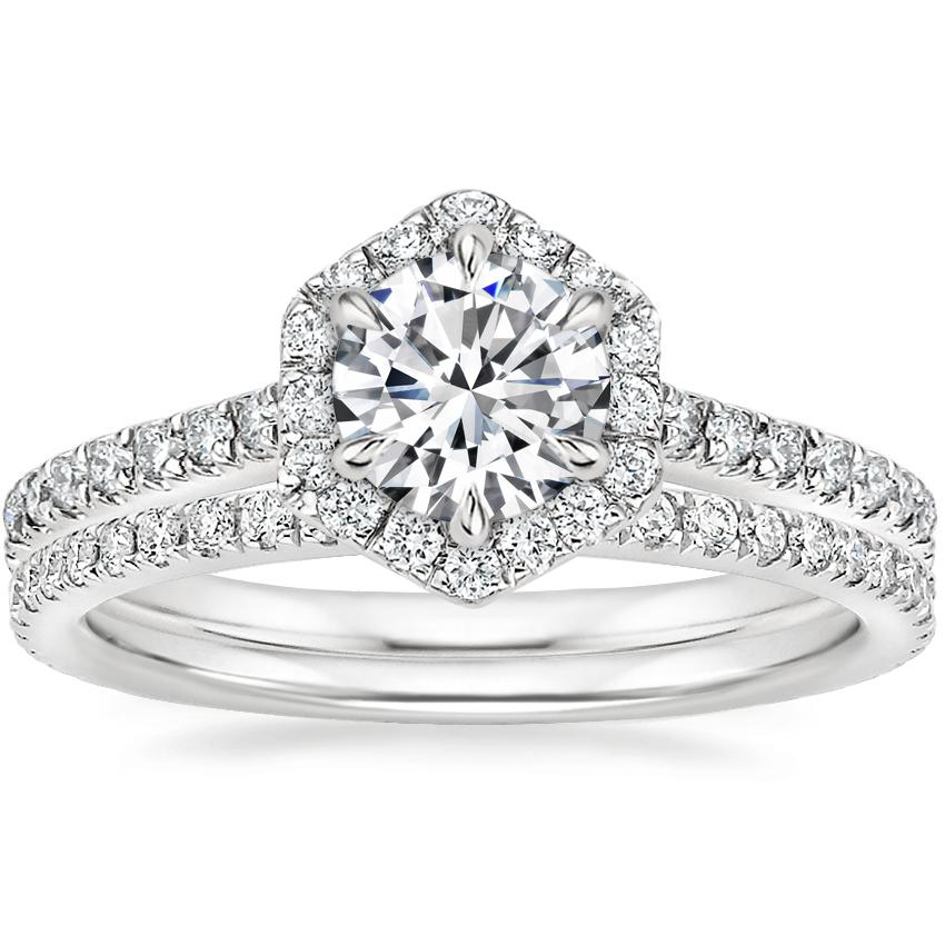18K White Gold Sonnet Diamond Ring (1/3 ct. tw.) with Luxe Ballad Diamond Ring (1/4 ct. tw.)