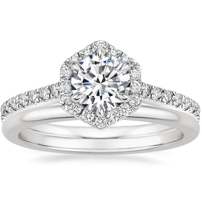 18K White Gold Sonnet Diamond Ring (1/3 ct. tw.) with Petite Comfort Fit Wedding Ring