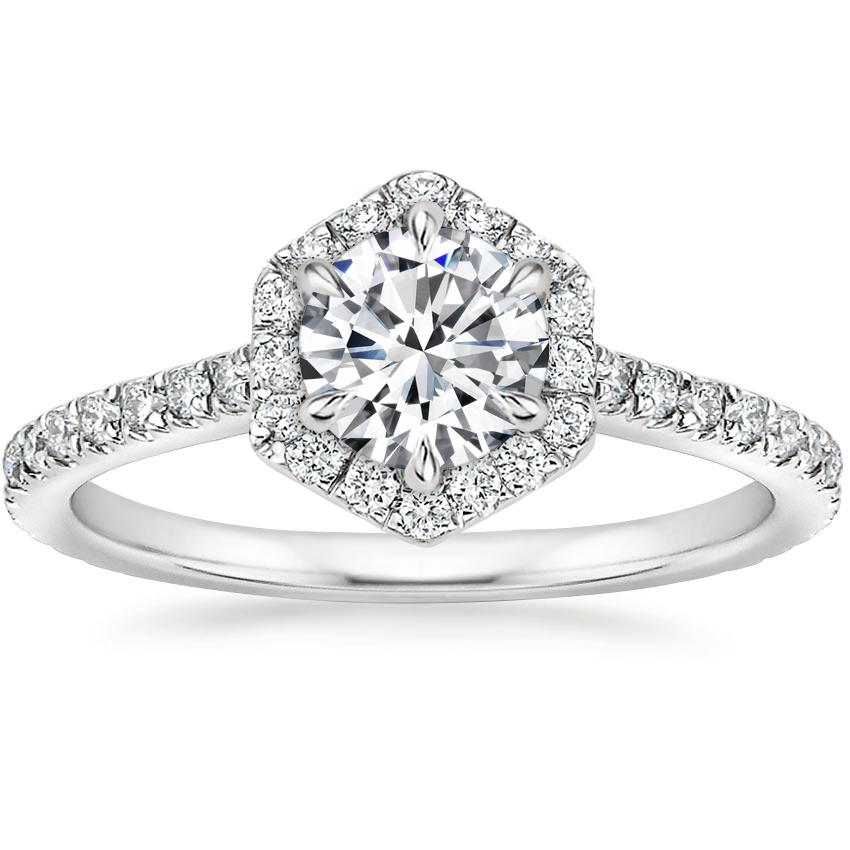 Round Hexagon Halo Engagement Ring