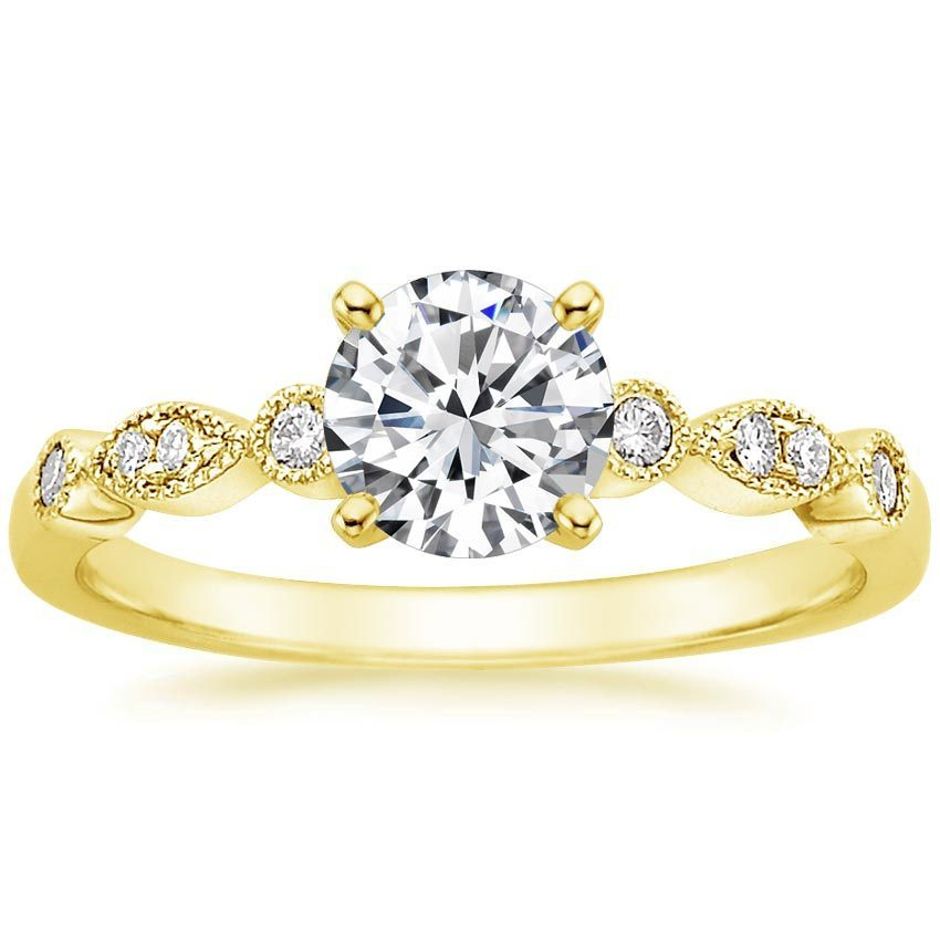 18K Yellow Gold Tiara Diamond Ring, top view