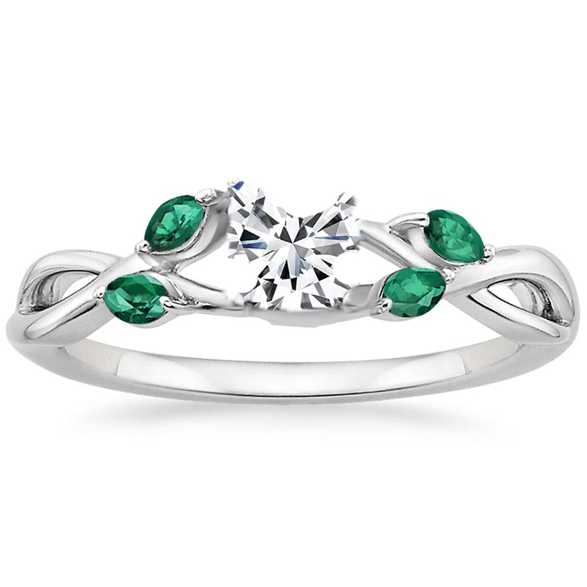 diamond gallery engagement band french rings in gold brides oval set emerald gemstone white ring shaped