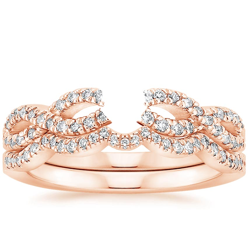 14K Rose Gold Infinity Diamond Bridal Set 1 3 ct tw