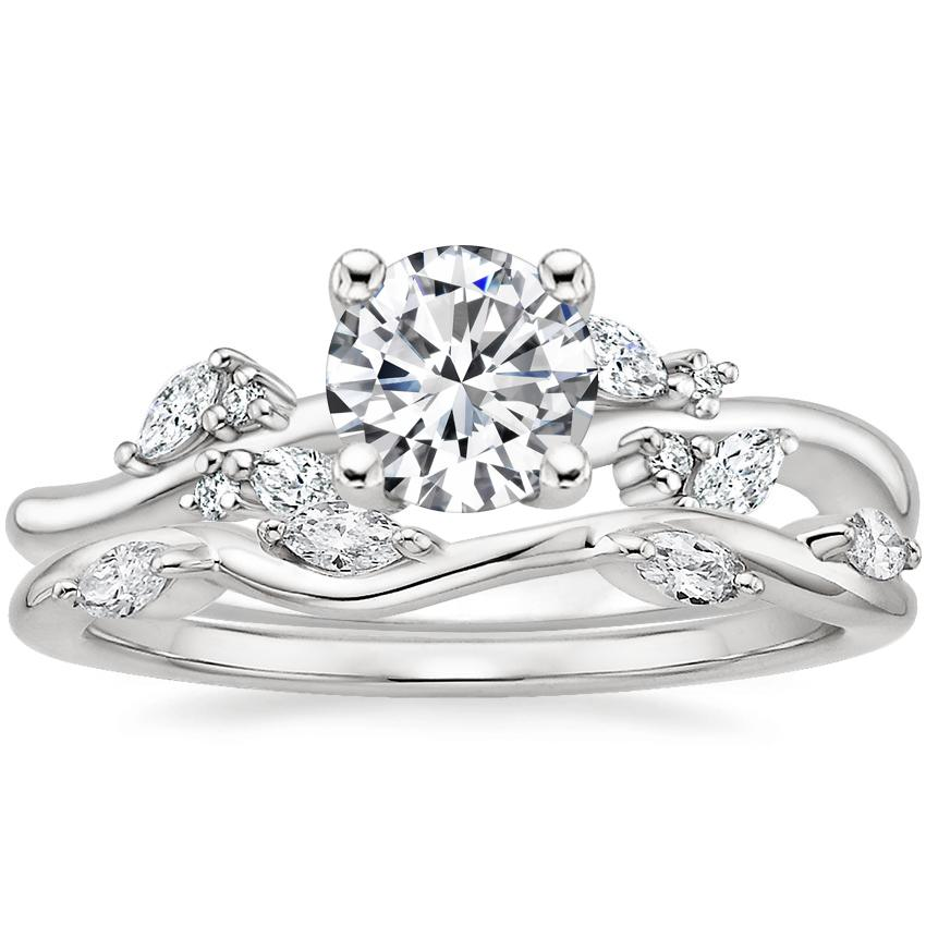 Platinum Arden Diamond Ring with Winding Willow Diamond Ring (1/8 ct. tw.)
