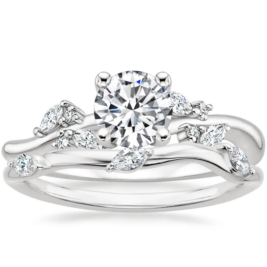 Platinum Arden Diamond Ring with Willow Contoured Diamond Ring (1/10 ct. tw.)