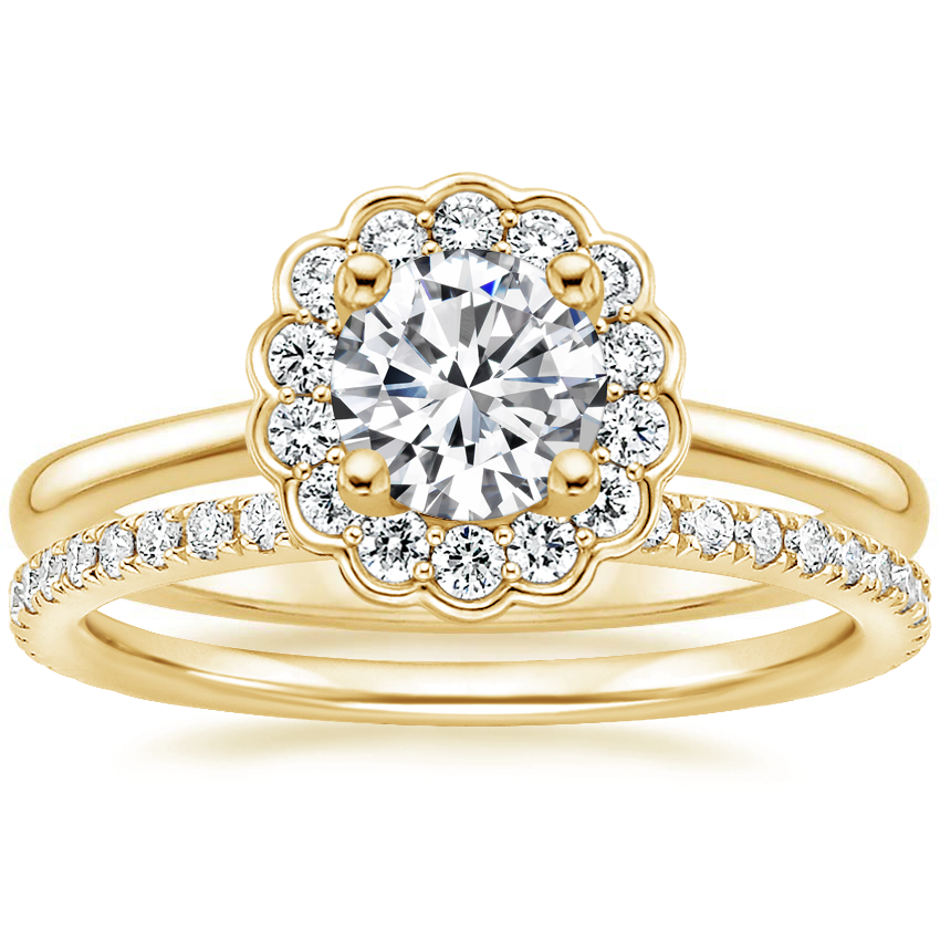18K Yellow Gold Violette Diamond Ring with Luxe Ballad Diamond Ring (1/4 ct. tw.)