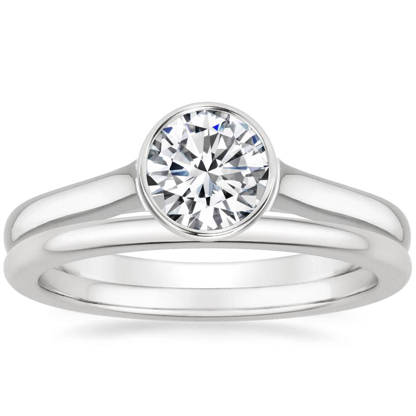 Platinum Luna Ring with Petite Comfort Fit Wedding Ring