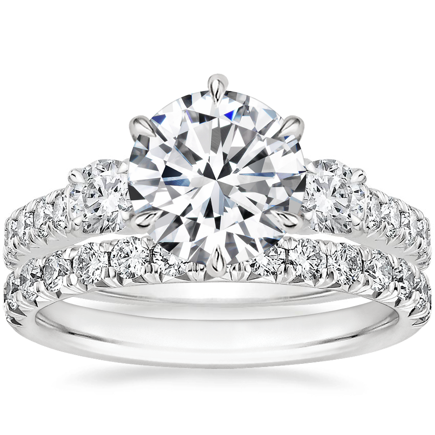 Platinum Gramercy Diamond Ring (3/4 ct. tw.) with Sienna Diamond Ring (1/2 ct. tw.)