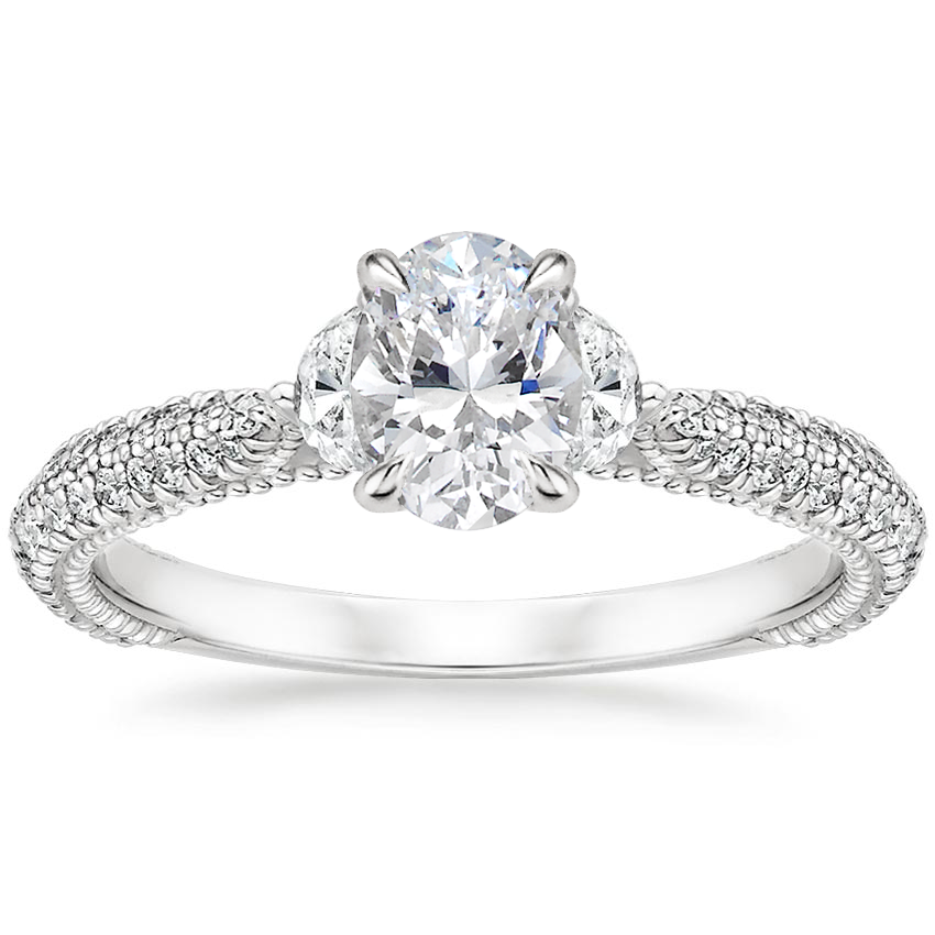 Oval 18K White Gold Rosemont Diamond Ring