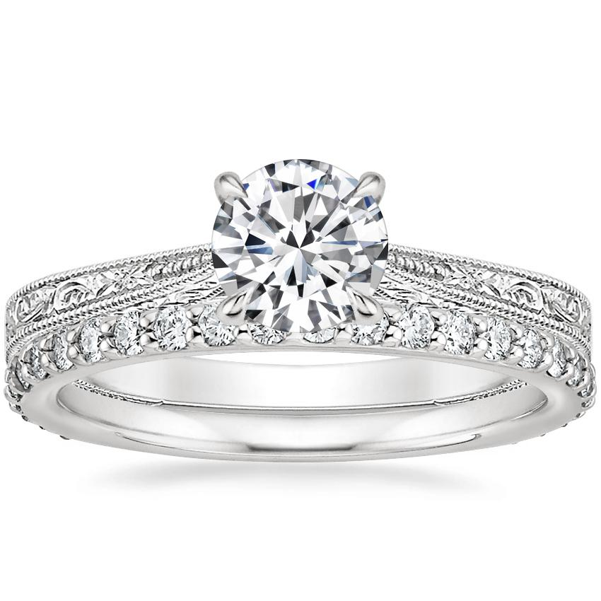 Platinum Elsie Ring with Petite Shared Prong Eternity Diamond Ring (1/2 ct. tw.)