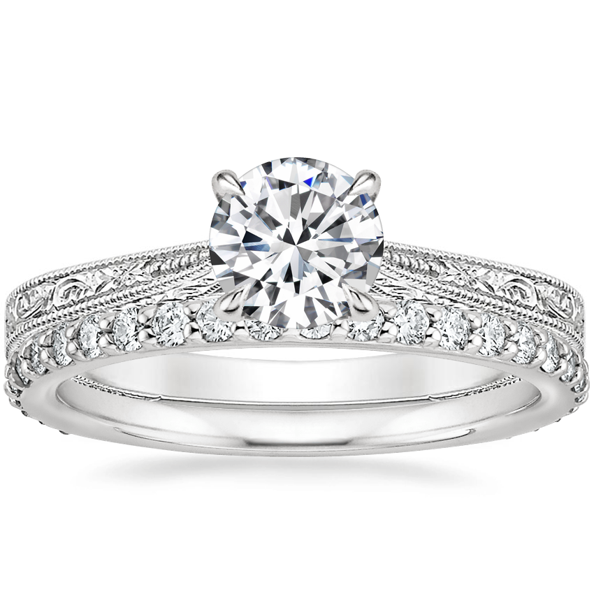 18K White Gold Elsie Ring with Petite Shared Prong Eternity Diamond Ring (1/2 ct. tw.)
