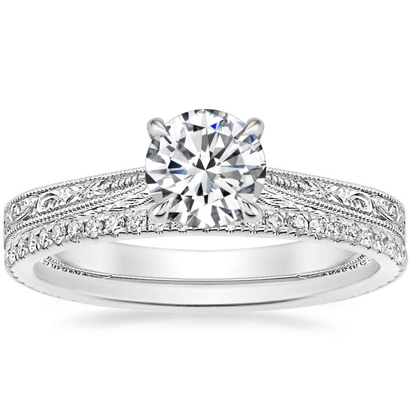 18K White Gold Elsie Ring with Whisper Eternity Diamond Ring (1/4 ct. tw.)