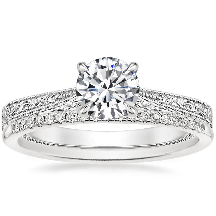 18K White Gold Elsie Ring with Whisper Diamond Ring (1/10 ct. tw.)