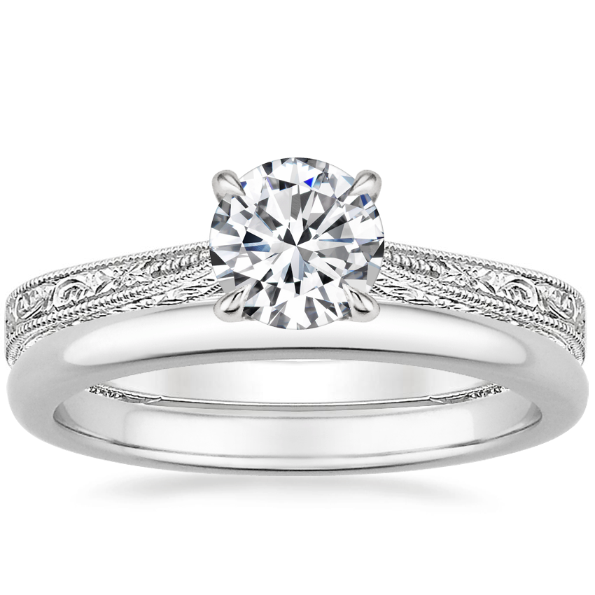18K White Gold Elsie Ring with 2mm Comfort Fit Wedding Ring