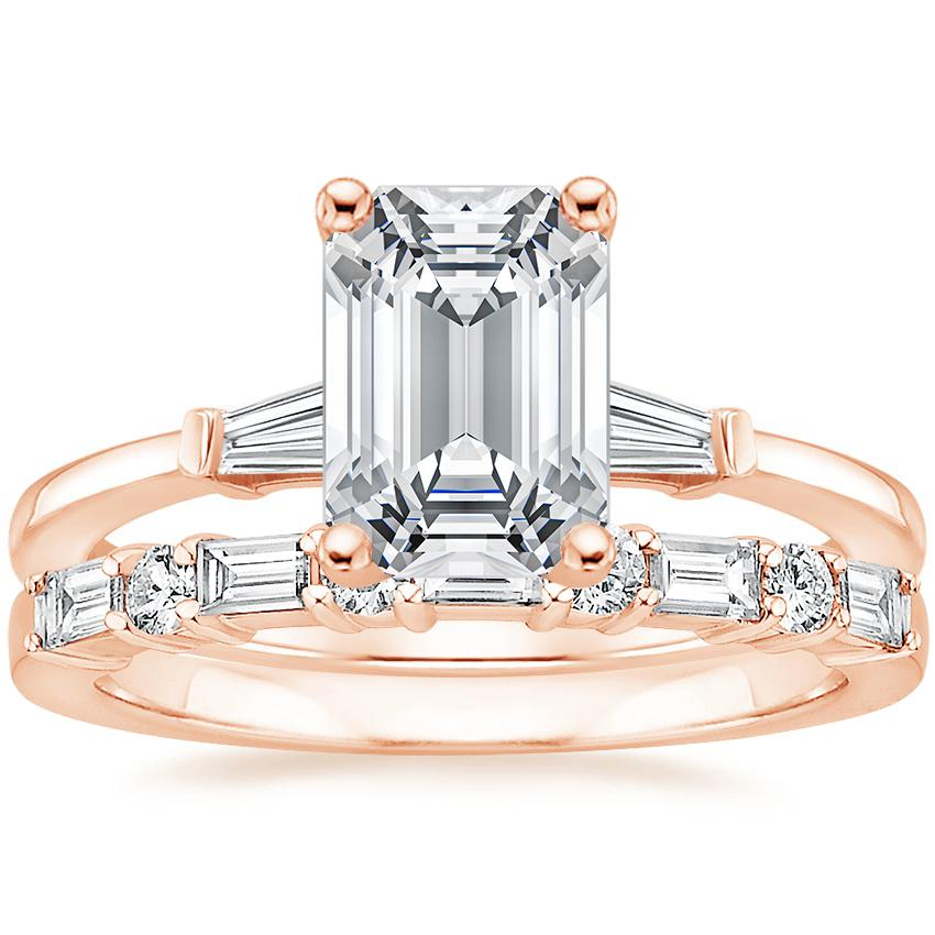 14K Rose Gold Tapered Baguette Diamond Ring with Leona Diamond Ring (1/3 ct. tw.)