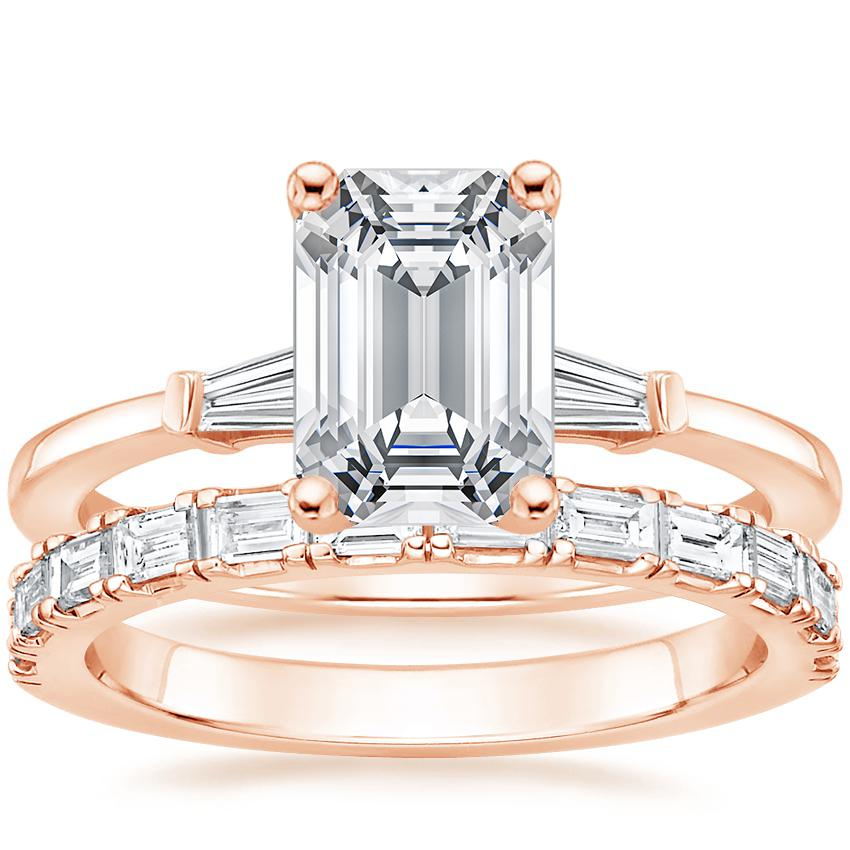 14K Rose Gold Tapered Baguette Diamond Ring with Gemma Diamond Ring (1/2 ct. tw.)