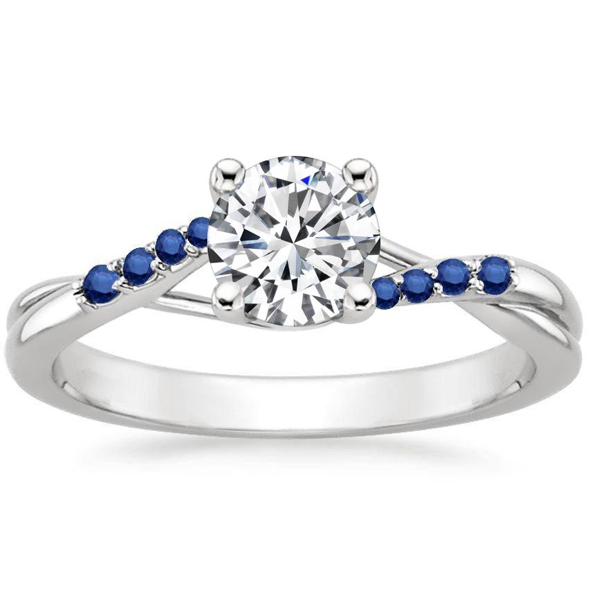 18K White Gold Chamise Ring with Sapphire Accents, top view