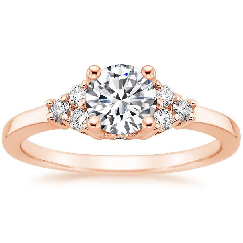 Round 14K Rose Gold Trio Diamond Ring