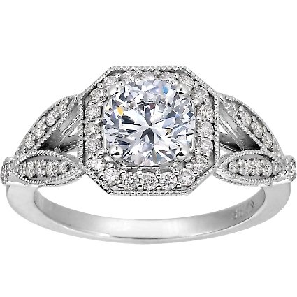 18K White Gold Luxe Victorian Split Shank Halo Diamond Ring, top view