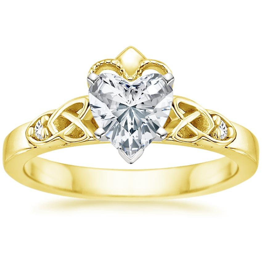 Heart 18K Yellow Gold Celtic Claddagh Diamond Ring