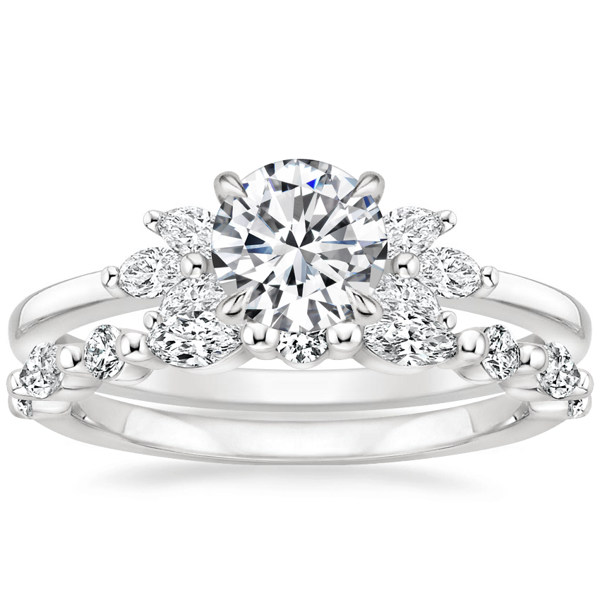 18K White Gold Stella Diamond Ring with Versailles Diamond Ring (3/8 ct. tw.)