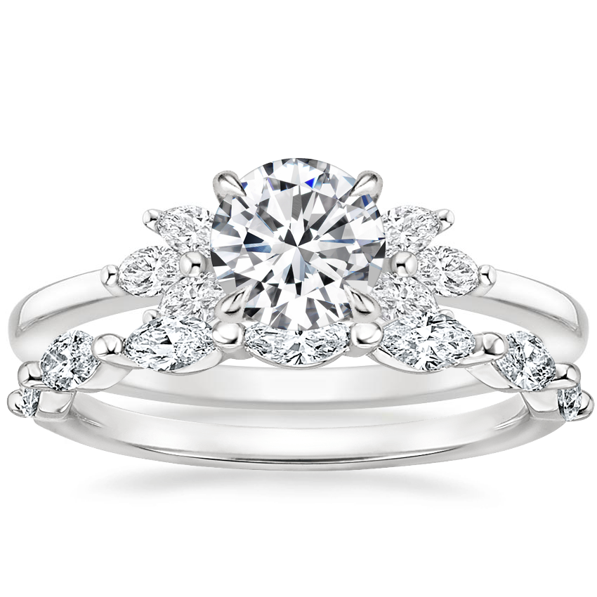 18K White Gold Stella Diamond Ring with Joelle Diamond Ring