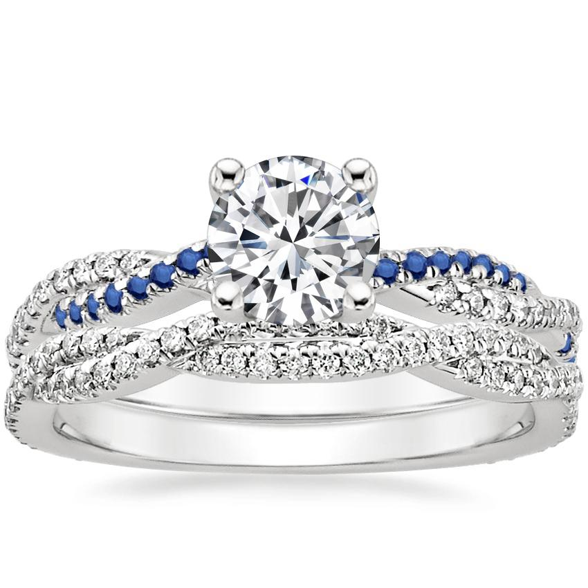 18K White Gold Petite Luxe Twisted Vine Sapphire and Diamond Ring with Petite Luxe Twisted Vine Diamond Ring (1/3 ct. tw.)
