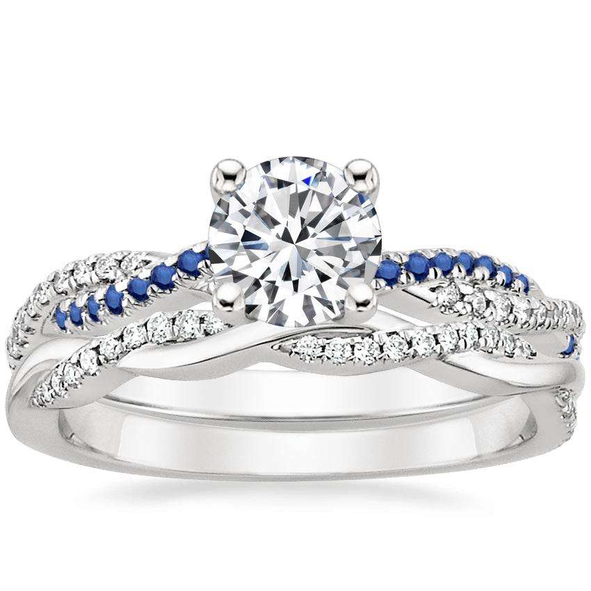 18K White Gold Petite Luxe Twisted Vine Sapphire and Diamond Ring with Petite Twisted Vine Diamond Ring (1/8 ct. tw.)