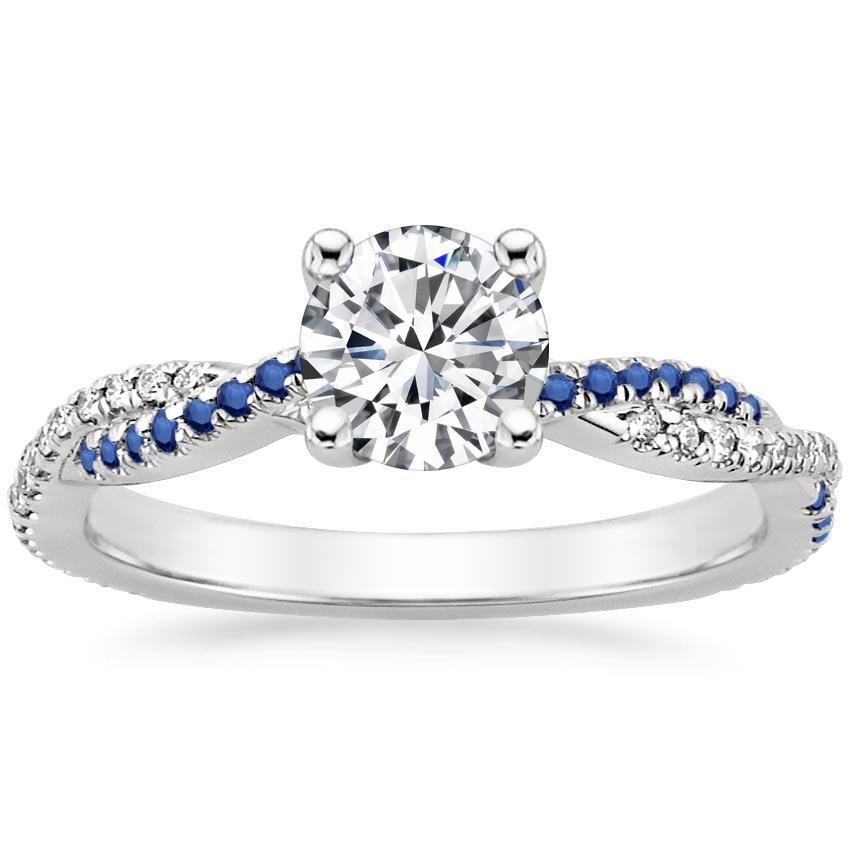 Round Platinum Petite Luxe Twisted Vine Sapphire and Diamond Ring (1/8 ct. tw.)