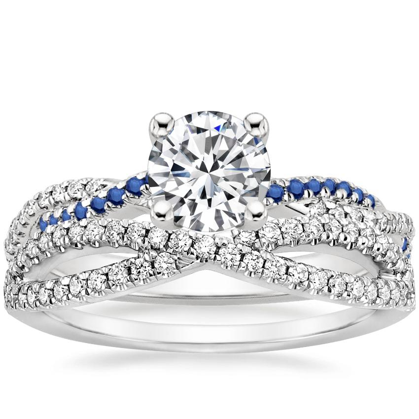 18K White Gold Petite Luxe Twisted Vine Sapphire and Diamond Ring with Entwined Diamond Ring (1/4 ct. tw.)