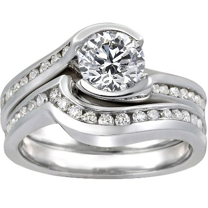 Platinum Cascade with Channel Set Diamond Accents Matched Set (1/2 ct. tw.)