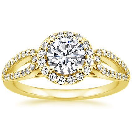 Round 18K Yellow Gold Lumiere Halo Diamond Ring (1/3 ct. tw.)