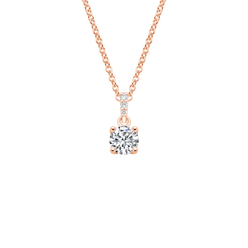14K Rose Gold Pavé Diamond Bail Pendant, top view