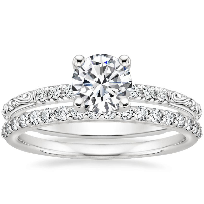 18K White Gold Adeline Diamond Ring with Petite Shared Prong Diamond Ring (1/4 ct. tw.)