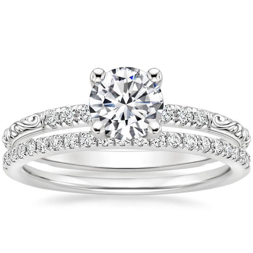 Platinum Adeline Diamond Ring with Ballad Diamond Ring (1/6 ct. tw.)