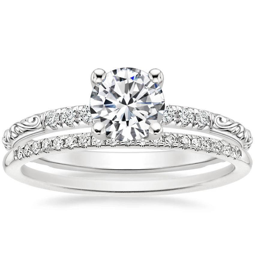 18K White Gold Adeline Diamond Ring with Whisper Diamond Ring (1/10 ct. tw.)