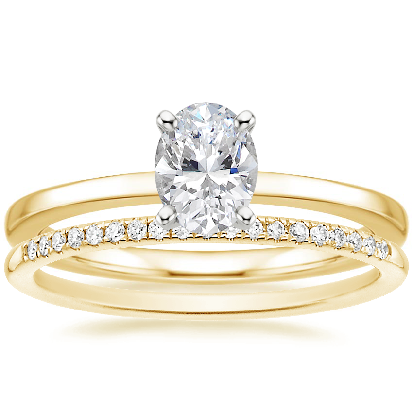 18K Yellow Gold Petite Quattro Ring with Whisper Diamond Ring (1/10 ct. tw.)