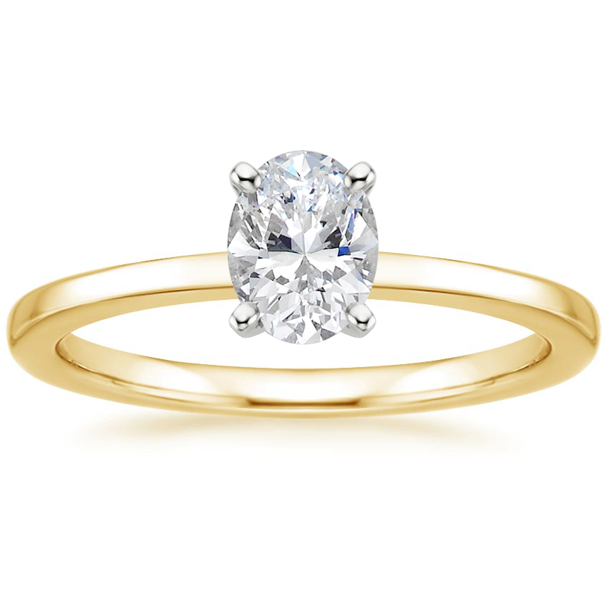 Oval Square Band Engagement Ring