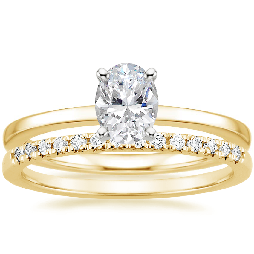 18K Yellow Gold Petite Quattro Ring with Sonora Diamond Ring (1/8 ct. tw.)