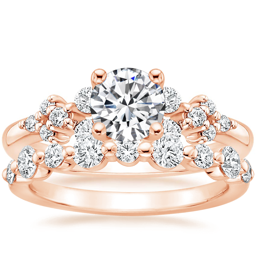 14K Rose Gold Effervescence Diamond Ring with Bordeaux Diamond Ring (1/2 ct. tw.)