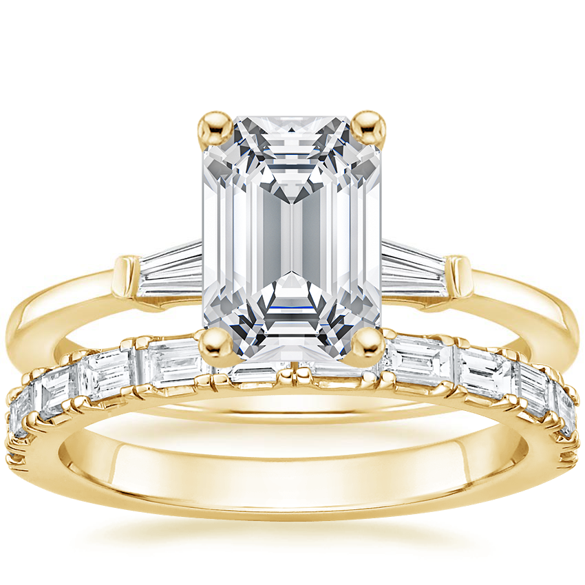 18K Yellow Gold Tapered Baguette Diamond Ring with Gemma Diamond Ring (1/2 ct. tw.)