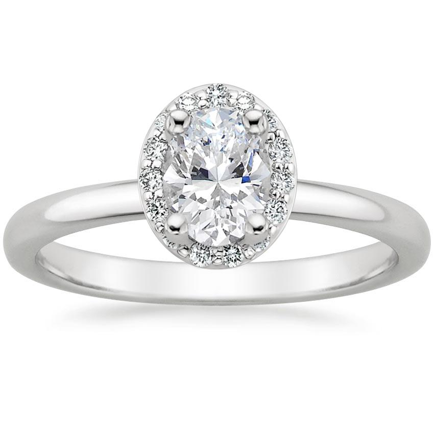 Oval Platinum Fancy Halo Diamond Ring (1/6 ct. tw.)