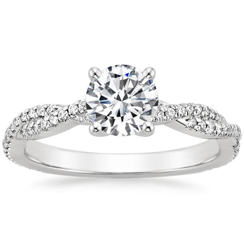Platinum Petite Luxe Twisted Vine Diamond Ring (1/4 ct. tw.), top view