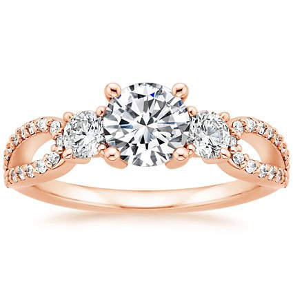 14K Rose Gold Lumiere Three Stone Ring (1/2 ct. tw.), top view