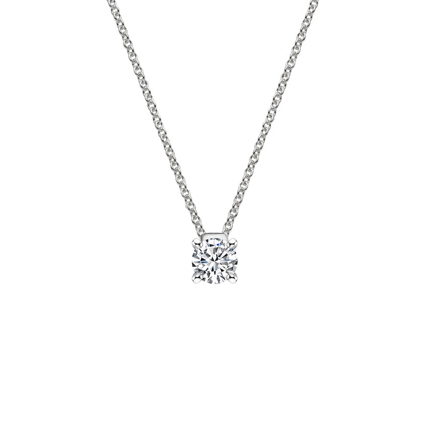 18K White Gold Floating Solitaire Pendant, top view