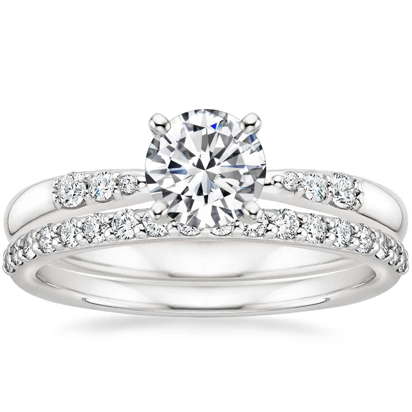 18K White Gold Lark Diamond Ring with Petite Shared Prong Diamond Ring (1/4 ct. tw.)